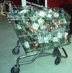 Yes, that is a shopping cart filled with empty Old English 800 bottles.